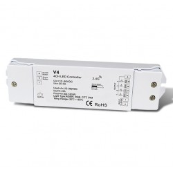 RF prijímač riadenia LED pásov DIMM,CCT,RGB,RGBW 4x5A DC12-36V V4