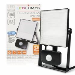 LED reflektor 20W 1850Lm Neutral White PIR LEDLUMEN