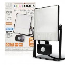 LED reflektor 50W 4450Lm Neutral White PIR IP44 LEDLUMEN