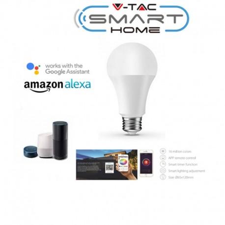 E27 LED RGB+WW 9W 800Lm Wi-Fi 2,4GHz V-TAC SMART