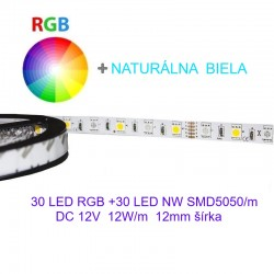 Flexibilný LED pás 60LED SMD5050 RGB+WW 12W/m 12V  12mm BRG