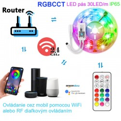 Set RGBCCT LED pás s WiFi a RF ovládaním a napájacím zdrojom - IP65 - 3m