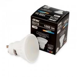 LED žiarovka GU10 10W 1000Lm Studená biela 6500K keramické telo LEDLINE