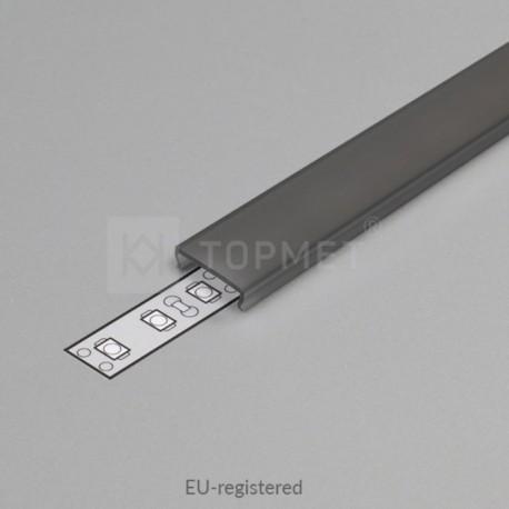 Čierny - dymový naklikávací difúzor na hliníkový profil pre LED pásy typu CORNER, SURFACE, GROOWE, OVAL, UNI12, EDGE10 a TRIO