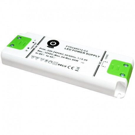 LED nábytkový napájací zdroj 12V-60W IP20 FTPC60V12-C2
