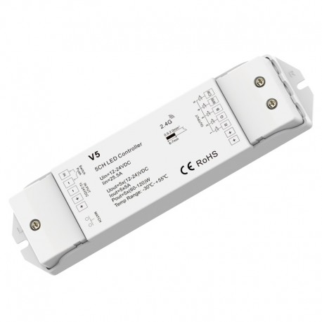 RF prijímač riadenia LED pásov RGB+CCT 5x5A DC12-36V SKD-V5