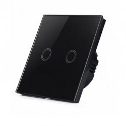 Vypínač 2-násobný dotykový so skleneným rámikom - čierny